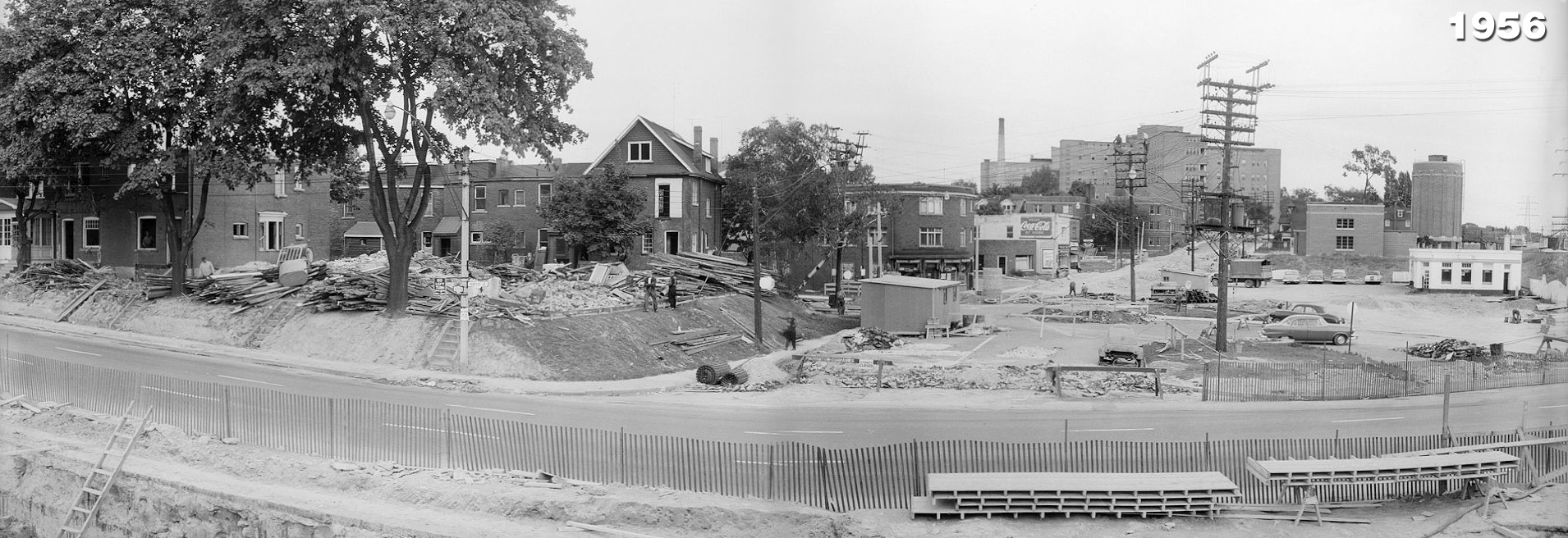 Parkside Drive looking east along Queen Street towards St. Joseph's Hospital, 1956